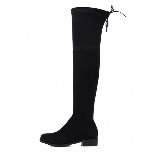 Black Suede Elastic Long Knee Rider Flats Boots Shoes
