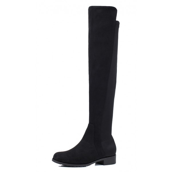 Black Suede Leather Elastic Long Knee Rider Flats Boots Shoes