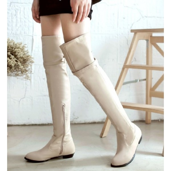 Cream Sexy Long Knee Rider Flats Boots Shoes