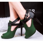 Green Suede Cross Strap Belt Peep Toe Stiletto High Heels Sandals Shoes