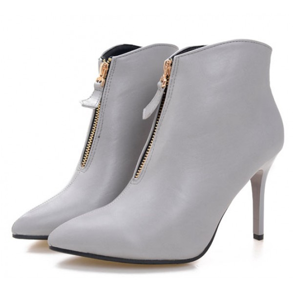 Grey Zipper Pointed Head Ankle Stiletto High Heels Boots Shoes