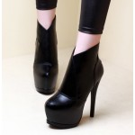 Black Platforms Stiletto High Heels Ankle Boots Shoes