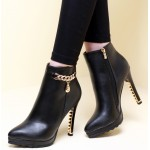 Black Gold Metal Chain Stiletto High Heels Ankle Boots Shoes