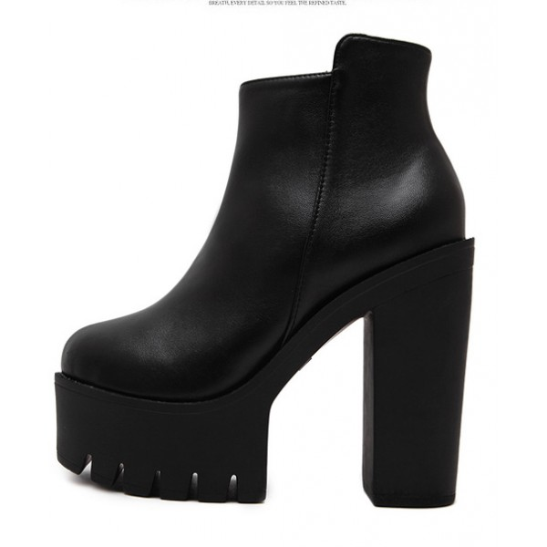 Black Platforms Block Cleated Sole High Heels Ankle Boots Shoes