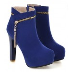 Blue Royal Suede Gold Zipper Ankle Platforms High Heels Boots