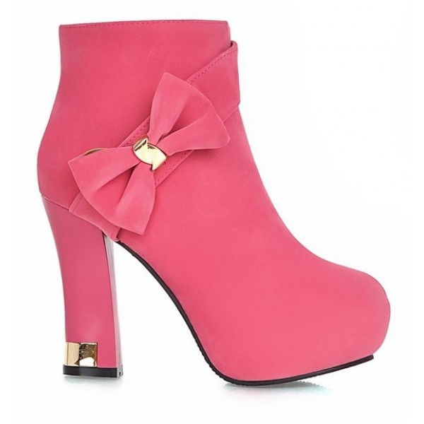 Pink Suede Gold Metal Bow Ankle Platforms High Heels Boots