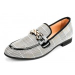 LAST PAIR- Black White Houndstooth Horsebit Mens Loafers Dress Shoes EU43 EU44