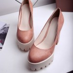 Pink Chunky Platforms Cleated Sole Mary Jane Block High Heels Shoes