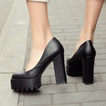 Black Chunky Platforms Cleated Sole Mary Jane Block High Heels Shoes