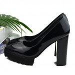Black Pointed Head Platforms Cleated Sole Mary Jane Block High Heels Shoes