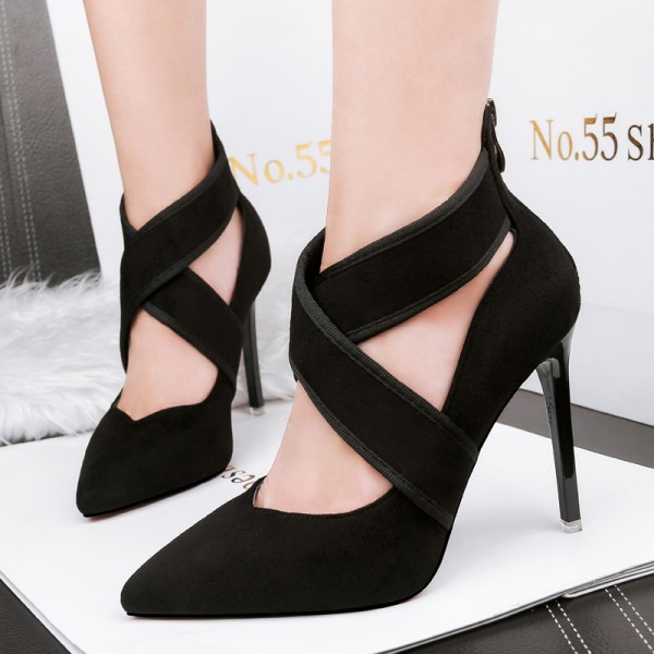Black Ankle Cross Straps Ballets Stiletto High Heels Shoes