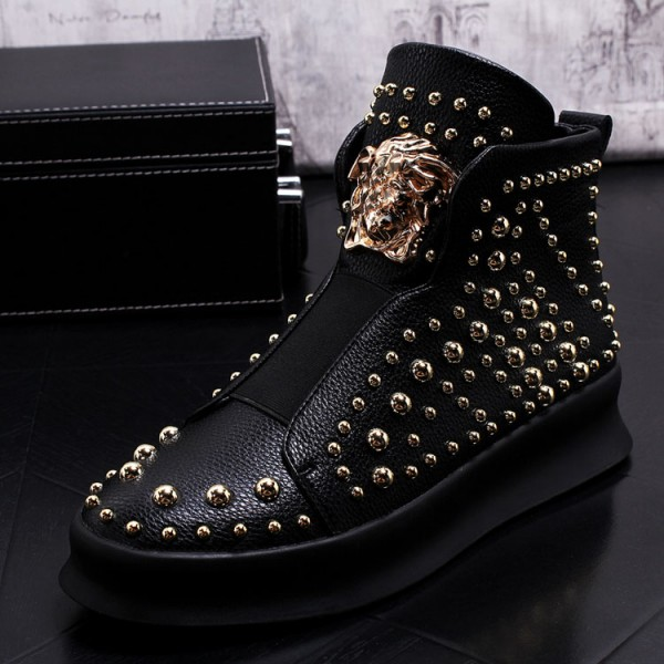 Black Gold Metal Studs Medusa Punk Rock Mens High Top Sneakers Shoes