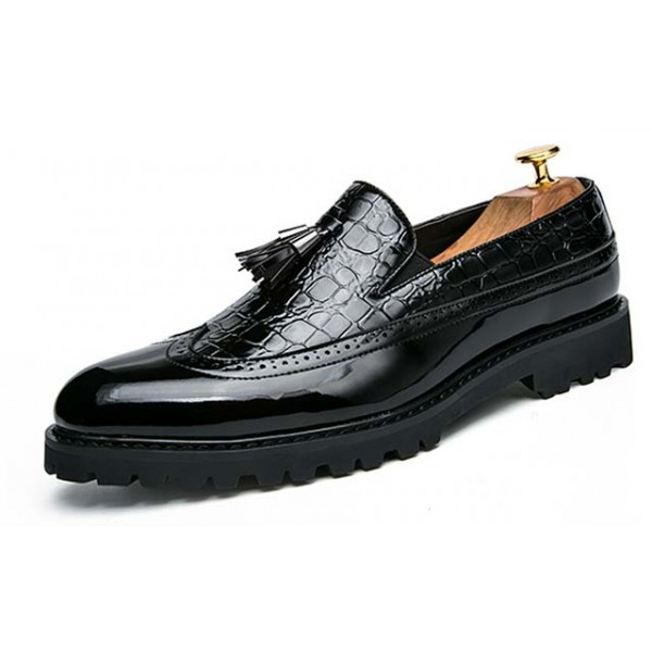 Black Tassels Glossy Patent Leather Loafers Flats Dress Shoes