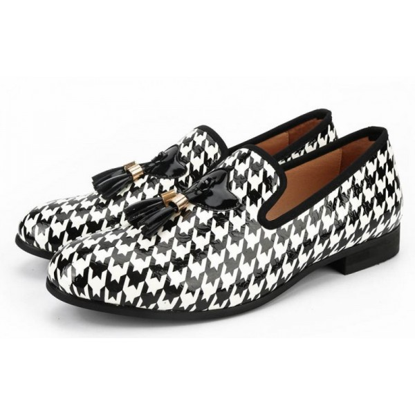 Black White Houndstooth Tassels Mens Loafers Dapperman Prom Dress Shoes