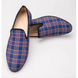 Blue Scotland Tartan Plaid Checkers Mens Loafers Prom Dress Shoes