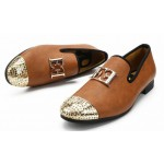 Brown Gold Emblem Spikes Mens Loafers Dapperman Prom Dress Shoes