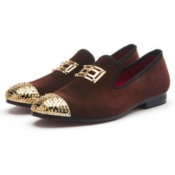 Brown Velvet Gold Emblem Spikes Mens Loafers Dapperman Prom Dress Shoes