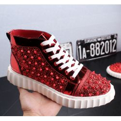 Red Glitters Spikes White Sole Punk Rock Mens High Top Sneakers Shoes