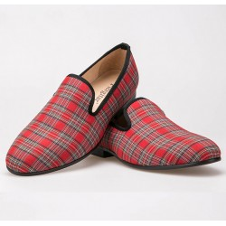 Red Scotland Plaid Tartan Checkers Mens Loafers Prom Dress Shoes