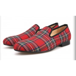 Red Scotland Tartan Plaid Checkers Mens Loafers Prom Dress Shoes