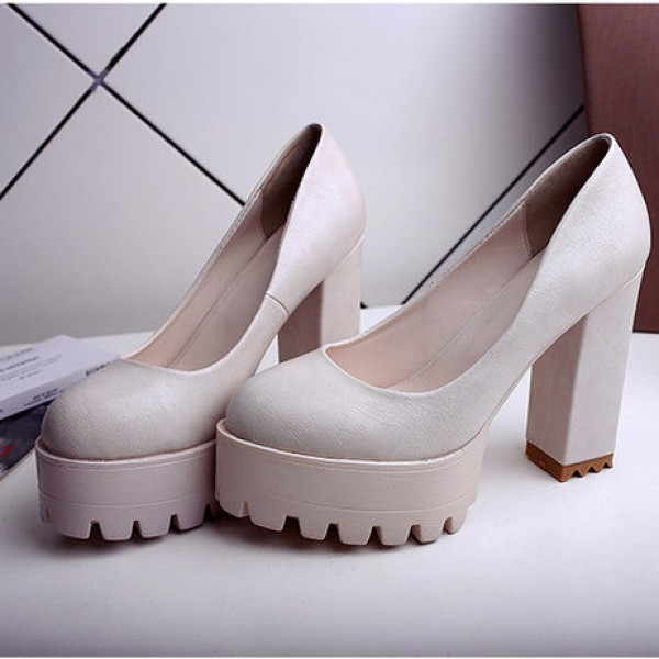 White Chunky Platforms Cleated Sole Mary Jane Block High Heels Shoes