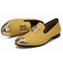 Yellow Gold Emblem Spikes Mens Loafers Dapperman Prom Dress Shoes