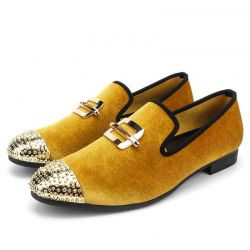 Yellow Velvet Gold Emblem Spikes Mens Loafers Dapperman Prom Dress Shoes