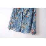 Blue Flowers Butterflies Vintage Retro Pattern Chiffon Long Sleeves Blouse Shirt