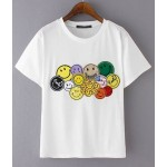 Black White Colorful Smile Happy Faces Short Sleeves T Shirt Top