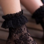 Black White Lace Fish Net Fishnet Lolita Ankle Socks