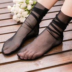 Black Lace Sheer Net Lolita Ankle Short Socks