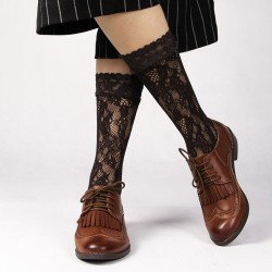 Brown Lace Fish Net Fishnet Flowers Lolita Long Socks