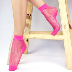 Pink Fushia Big Fish Net Fishnet Lolita Punk Rock Gothic Ankle Socks