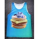 Blue Cat on Egg Muffin Cheeseburger Net Sleeveless Mens T-shirt Vest Sports Tank Top