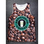 Brown Addicted to Coffee Beans Net Sleeveless Mens T-shirt Vest Sports Tank Top