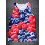 Red Blueberry Raspberry Net Sleeveless Mens T-shirt Vest Sports Tank Top