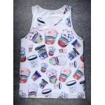 White Ben Jerry's Ice-Cream Net Sleeveless Mens T-shirt Vest Sports Tank Top