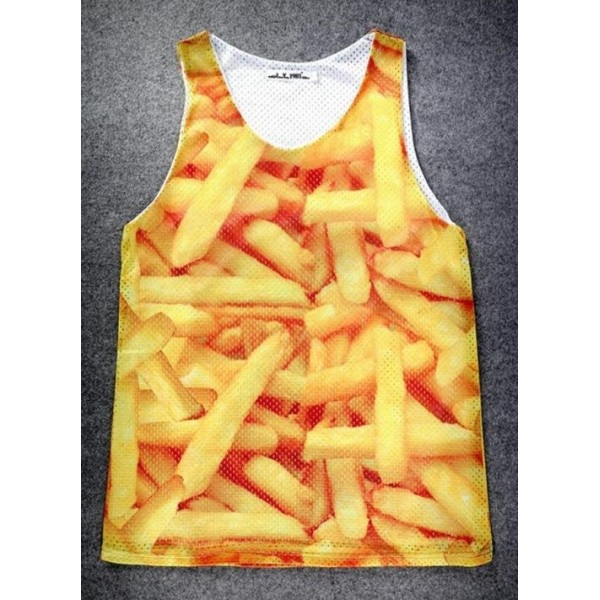 Yellow French Fries Net Sleeveless Mens T-shirt Vest Sports Tank Top