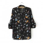 Black Harajuku Cartoons Comic Stars Galaxy Chiffon Long Sleeves Blouse Shirt