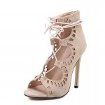 Khaki Cream Gladiator Strappy High Heels Stiletto Sexy Peep Toe Cut Sandals Shoes
