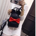 Black Red Giant Bow Mouse Ears Mini Backpack Cross Body Bag