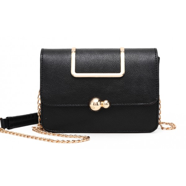Black Gold Ball Metal Snap Box Cross Body Bag Handbag Purse