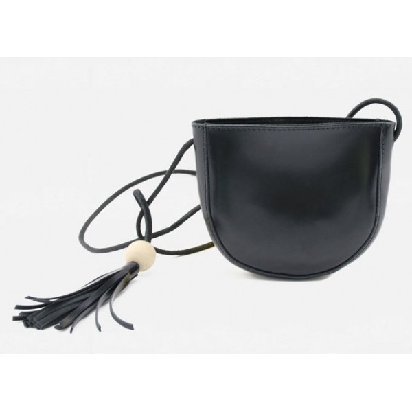 Black White Ball Tassel Cross Body Strap Bag Handbag