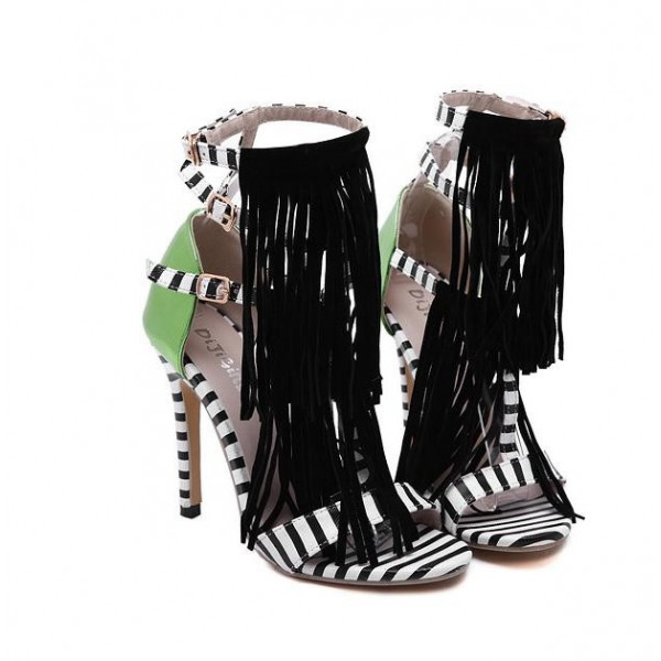 Black White Green Fringes Bohemia High Stiletto Heels Sandals Shoes Pump