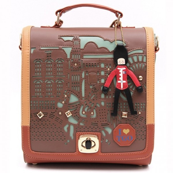 Orange Laser Cut Hollow Out Pony Soldier Fairy Tale Pattern Vintage School Backpack