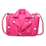 Pink Fushia Rider Biker Jacket Gold Chain Cross Body Flap Bag Handbag Purse