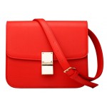 Red Gold Square Metal Snap Box Cross Body Bag Handbag Purse