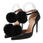 Black Silver Fur Pom Point Head High Stiletto Heels Evening Bridal Gown Shoes