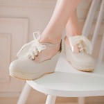 Pink Khaki Transparent Lolita Lace Up Wedges Platforms Oxfords Shoes