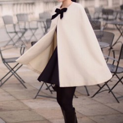 Cream Black Bow Woolen Poncho Cape Coat